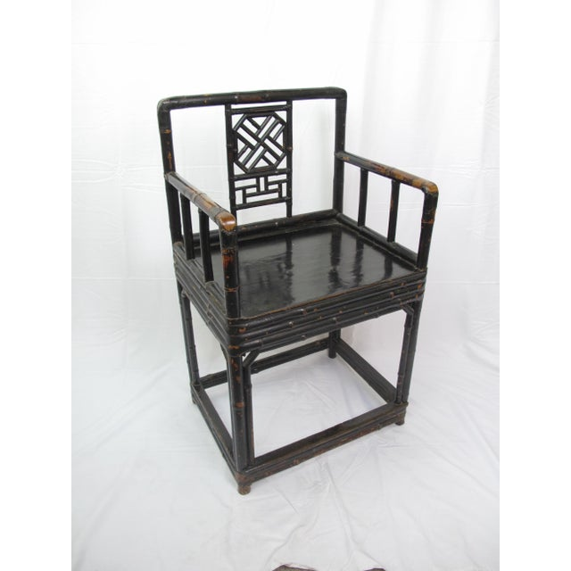 Bamboo Mid-19th Century Qing Dynasty Bamboo and Lacquer Chair For Sale - Image 7 of 7