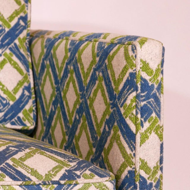 Pair of Regency Chinoiserie Tuxedo Settees in Lattice Bamboo Upholstery For Sale - Image 4 of 13