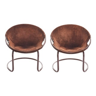 Mid Century German Circle Chairs by Lusch Erzeugnis in Suede - a Pair For Sale