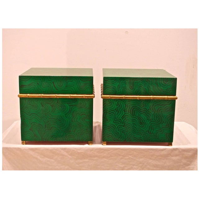 1990s Faux Malachite Boxes - a Pair For Sale - Image 5 of 11