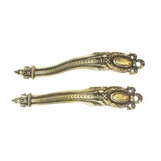 19th Century French Brass Curtain Tie Backs - a Pair For Sale
