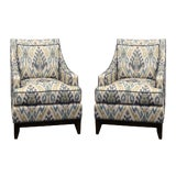 Image of Upholstered Club Chairs - A Pair For Sale