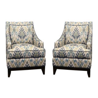 Upholstered Club Chairs - A Pair For Sale