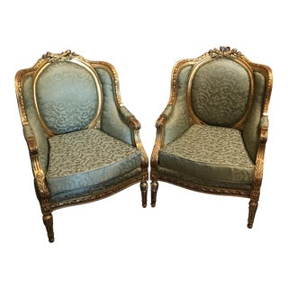 Neoclassical Gold Gilded Upholstered Chairs - a Pair For Sale