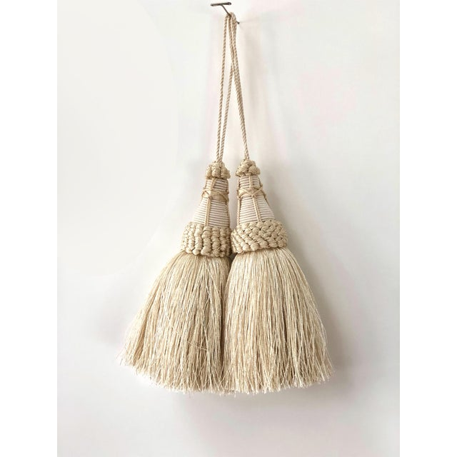 Pair of Key Tassels in Cream With Looped Ruche Trim For Sale - Image 4 of 10