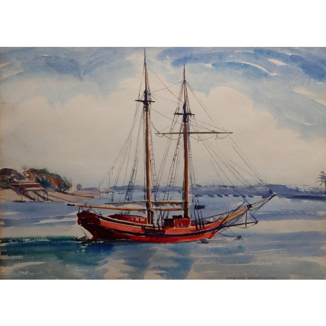 American Virgene Hawthorne - Red Sail Boat Resting at Bay - 1950s Painting For Sale - Image 3 of 9