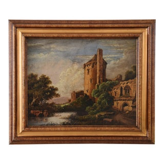 Circa 1830s Antique English Castle & Cattle at River Painting For Sale