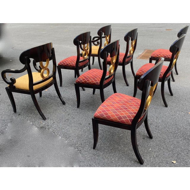 Ethan Allen Curved Gold Leaf Lacquered Scroll Arm Dining Chairs - Set of 8 For Sale - Image 4 of 12