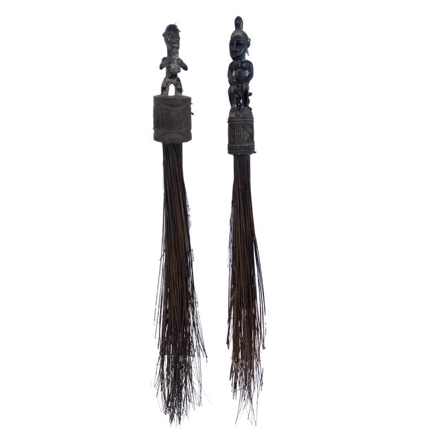 African Baule Brooms with Figures - a Pair For Sale