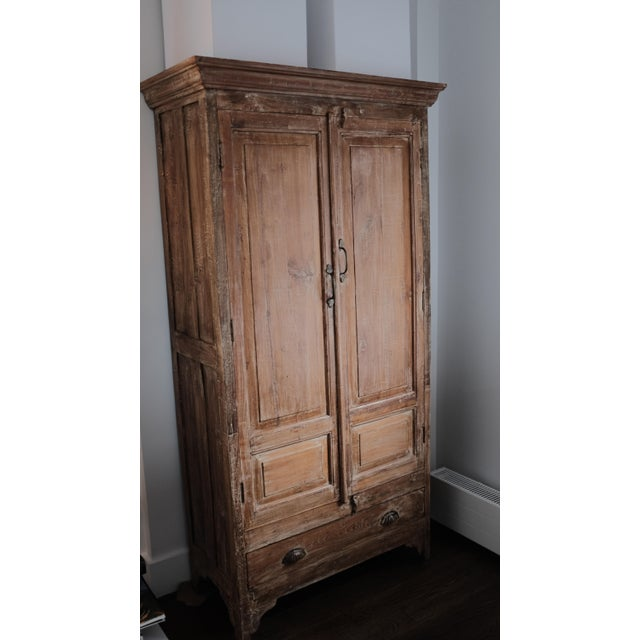 Country Artesana Home Natural Wood Armoire For Sale - Image 3 of 5