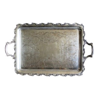 Large Silver Plate Serving Tray With Handles For Sale