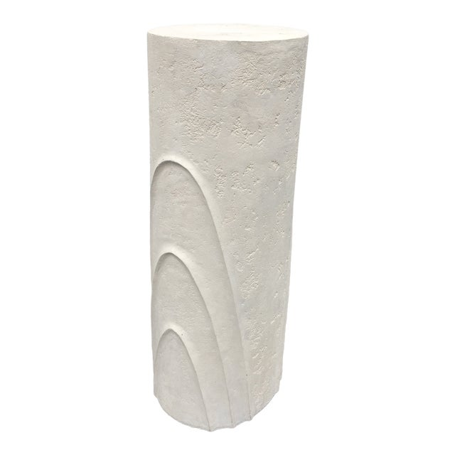 Concentric Oval Sculptural Plaster Pedestal For Sale