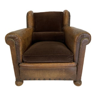1930s Vintage French Leather Chair For Sale