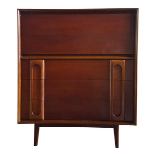 Mid-Century Modern Lane Furniture Tall 5 Drawer Dresser For Sale