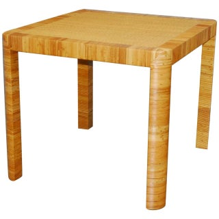 Bielecky Bamboo & Rattan Basket Weave Dining Table For Sale