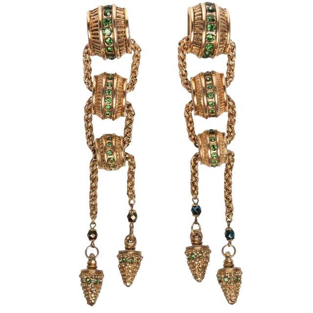 1980s Claire Dévé Gold Green Crystal Shoulder Duster Earrings For Sale