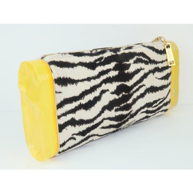 Edie Parker Zebra Print Calf Hair Clutch Handbag With Acrylic Details For Sale - Image 13 of 13