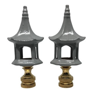 Chinoiserie Soft Gray Porcelain Pagodas Lamp Finials - a Pair