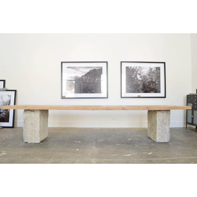 Limestone Oz|shop Antique Oak and Limestone Block Long Table For Sale - Image 7 of 7