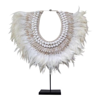 Indonesian Shell & Feather Neckpiece on Stand For Sale