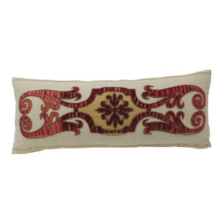 Byzantine Style Red Cut Velvet Appliqué Decorative Bolster Pillow For Sale