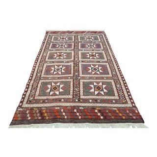 Turkish Bergama Nomads Kilim Embroidered Rug For Sale