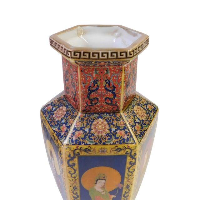 Hexagonal Porcelain Buddha Vase - Image 4 of 6