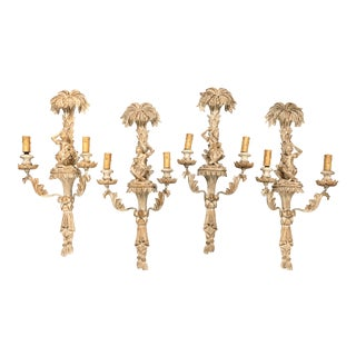 Italian Carved Wood Monkey Wall Sconces Set of 4, Two Pairs For Sale