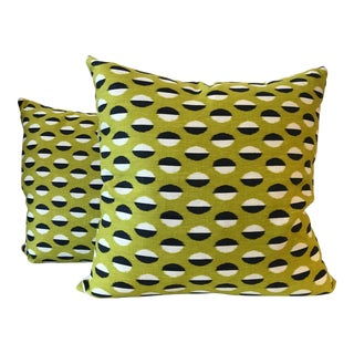 Contemporary Green Sanderson Ellipse Pillows - a Pair For Sale