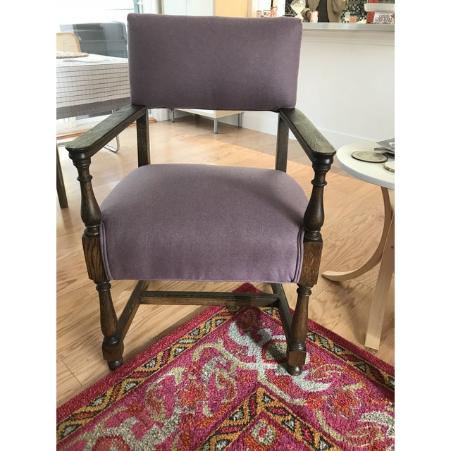 Vintage Early American William and Mary Style Plum Chair - Image 4 of 4