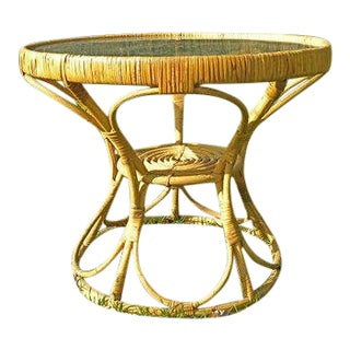 1960s Boho Chic Rattan Wicker Accent Table For Sale