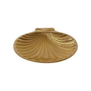 Gold Plated Fanned Shell-Shape Ring Dish For Sale