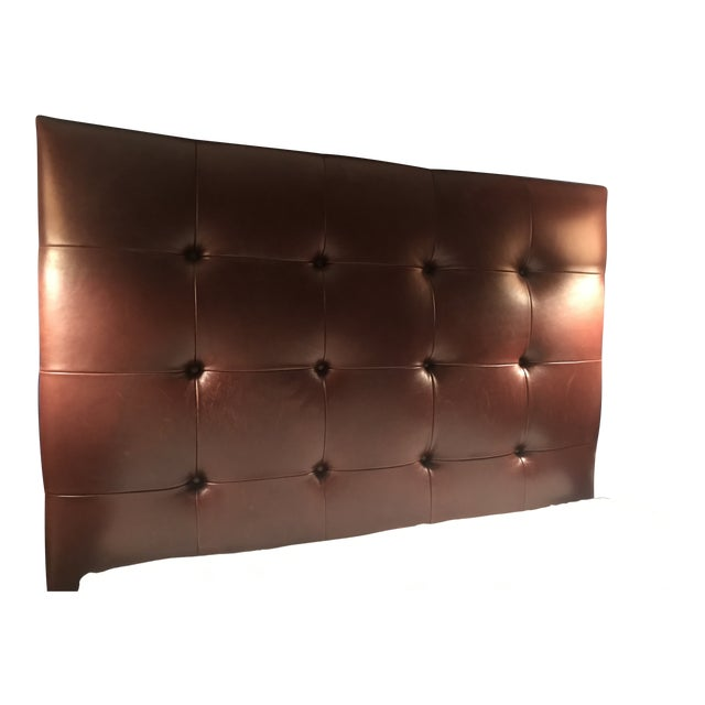 Contemporary Brown Tufted Leather Headboard For Sale