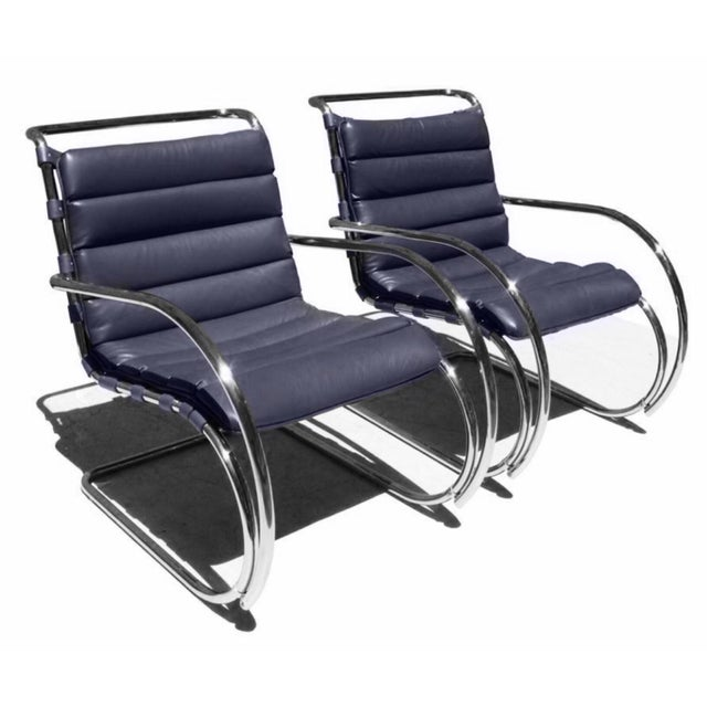 Knoll Mies Van Der Rohe for Knoll Mr Lounge Armchairs in Navy - a Pair For Sale - Image 4 of 4