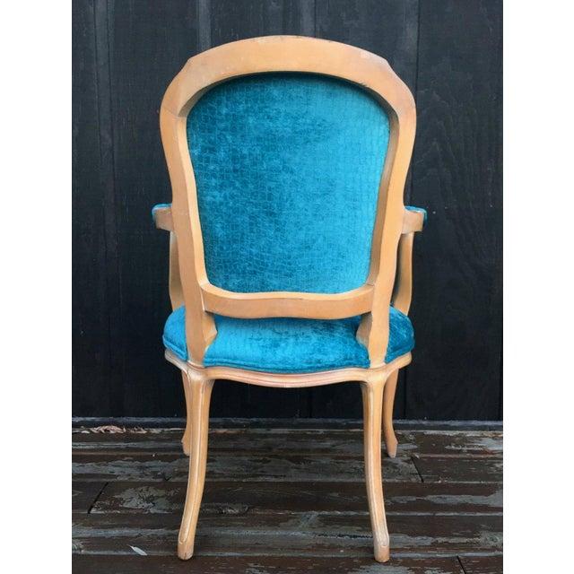 French Aqua Velvet Side Chairs - a Pair | Chairish