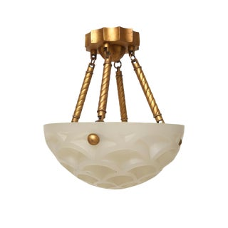 Art Deco Style Crescent Resin Chandelier Pendant Light Fixture by Sirmos Company For Sale