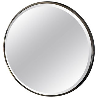 Large Round Gunmetal and Brass Mirror by Brueton For Sale