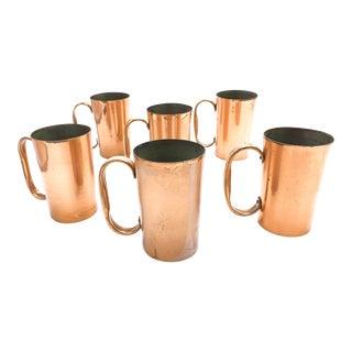 Vintage Mid Century Copper Mugs - Set of 6 For Sale