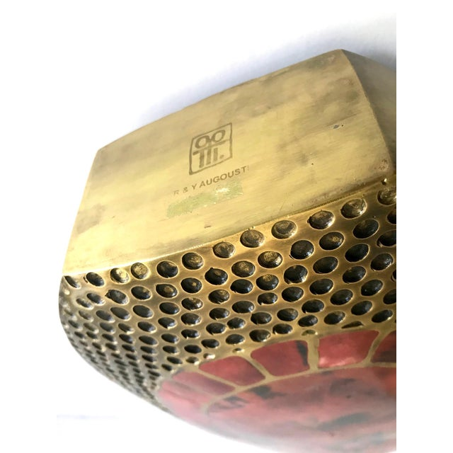 Vintage R & Y Augousti Ovoid Vase in Solid Bronze and Exotic Mosaic Pen-Shell For Sale - Image 12 of 13