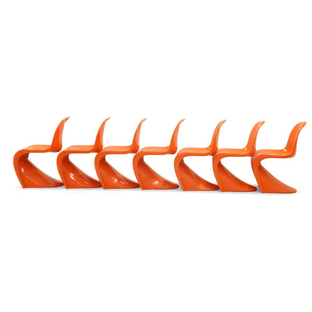 Price is per chair. Set of Seven Orange Verner Panton S Chairs, Early Herman Miller Production