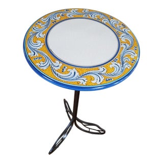 Tall Cafe Table Lava Granite Top, Hand Wrought Iron Base, Italy, Classic Gold, Cobalt, White For Sale