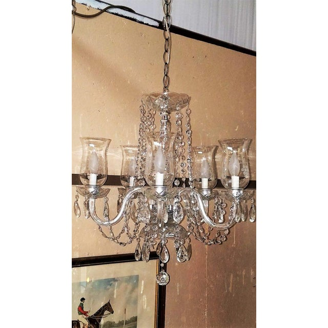 Superior etched hurricane shade crystal 5 arm chandelier decaso crystal etched hurricane shade crystal 5 arm chandelier for sale image 7 of 13 aloadofball Image collections
