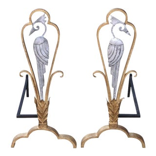 1930s Andirons Attributed to Edouard Schenck - A Pair For Sale