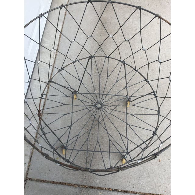 1940s Vintage Industrial Collapsible Wire Laundry Basket on Casters For Sale - Image 5 of 13