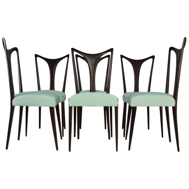 Italian Vintage Dining Chairs Attributed to Guglielmo Ulrich, Set of Six, 1940s For Sale