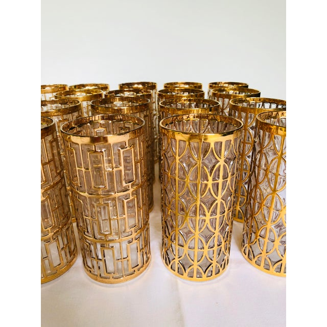1960s Hollywood Regency 22k Gold Imperial Glass Tumblers - Set of 20 For Sale - Image 4 of 8