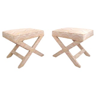 """Pair of Mid-Century Modern """"X"""" Base Billy Baldwin Style Benches For Sale"""