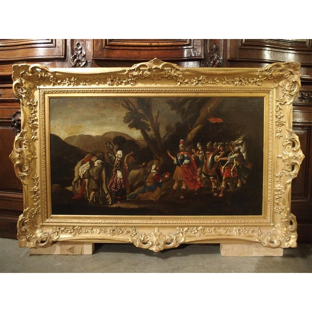 18th Century Italian Oil Painting on Canvas in Giltwood Frame For Sale - Image 11 of 11
