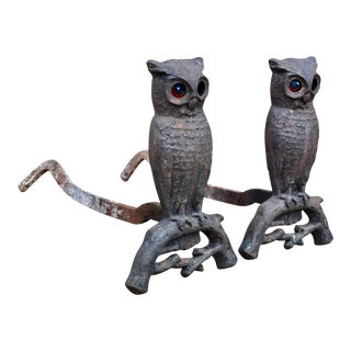 Antique Victorian Cast Iron Owl Fireplace Andirons by Bradley & Hubbard For Sale