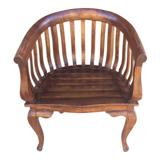 Solid Hand-Carved Horseshoe Teak Armchair